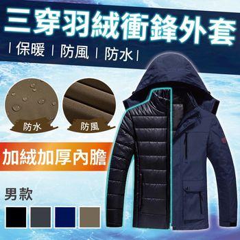 【NEW FORCE】升級版防風雨三穿超暖羽絨衝鋒外套-男款深藍  ◎透氣保暖、速熱速暖、防風防水