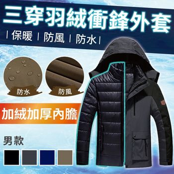 【NEW FORCE】升級版防風雨三穿超暖羽絨衝鋒外套-男款灰色   ◎透氣保暖、速熱速暖、防風防水