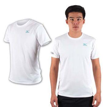 【MIZUNO】限量2016大阪馬拉松男路跑短袖T恤-慢跑 美津濃 白湖水綠