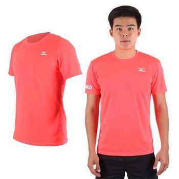 【MIZUNO】限量2016大阪馬拉松男路跑短袖T恤-慢跑 美津濃 螢光粉  吸濕排汗