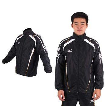 【MIZUNO】男保暖風衣外套- 防風 刷毛 立領外套 美津濃 黑白金  發熱內裡