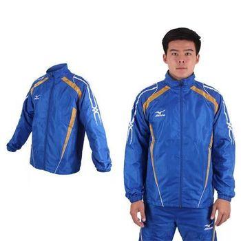 【MIZUNO】男保暖風衣外套- 防風 刷毛 立領外套 美津濃 藍白金  發熱內裡