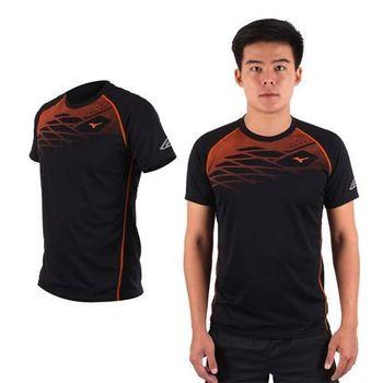 【MIZUNO】限量2016大阪馬拉松男路跑短袖T恤 - 美津濃 黑橘