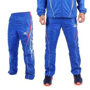 【MIZUNO】男保暖風褲 - 刷毛 防風 長褲 路跑 慢跑 美津濃 藍紅白