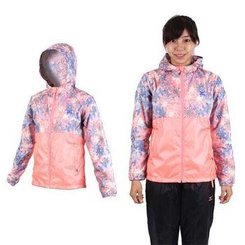 【MIZUNO】女保暖風衣外套- 刷毛 連帽外套 慢跑 路跑 美津濃 粉橘藍