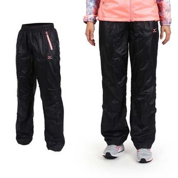 【MIZUNO】女保暖風褲-防風 長褲 刷毛 美津濃 黑粉