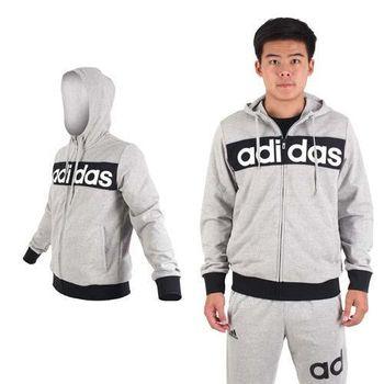 【ADIDAS】男運動休閒連帽外套-慢跑 路跑 愛迪達 灰黑白