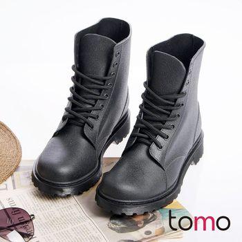 【TOMO】韓版帥氣綁帶馬丁工程雨靴(SMF147)