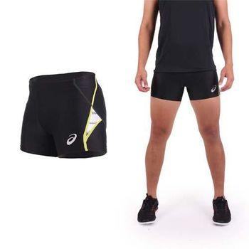 【ASICS】男緊身短褲-慢跑 路跑 田徑束褲 亞瑟士 黑黃白