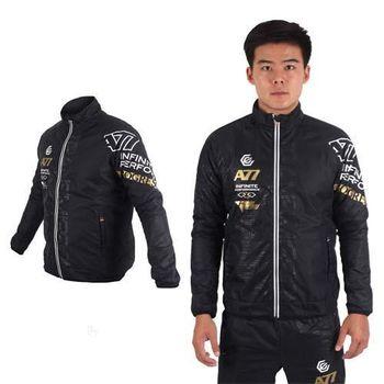 【ASICS】A77 男保暖風衣外套 - 防風 亞瑟士 黑白金