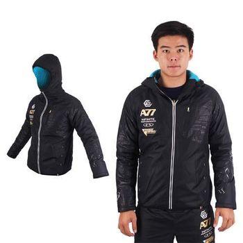 【ASICS】A77 男鋪棉外套-刷毛 保暖 防風 連帽外套 慢跑 亞瑟士 黑白金