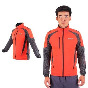 【KAPPA】男單層風衣外套-防風 慢跑 路跑 立領外套 橘深灰黑