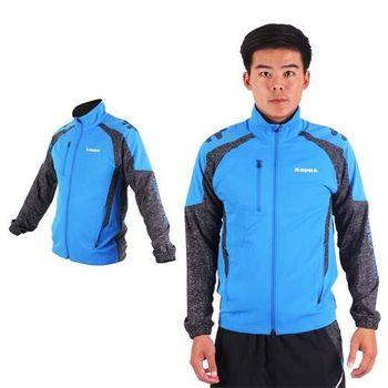 【KAPPA】男單層風衣外套-防風 慢跑 路跑 立領外套 藍黑白
