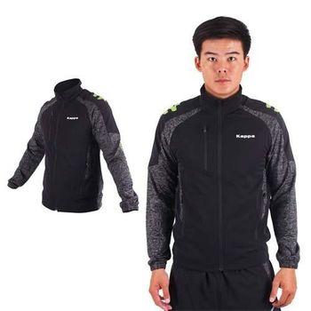 【KAPPA】男單層風衣外套-防風 慢跑 路跑 立領外套 黑灰白