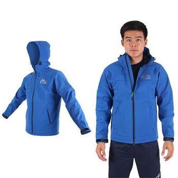 【KAPPA】SOFTSHELL 男休閒連帽外套-防風防潑水 保暖 刷毛 藍銀