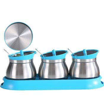 PUSH!餐具廚房用品不鏽鋼調味瓶調味罐調味盒胡椒罐鹽罐(3罐組)D86藍色