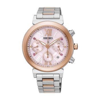 【SEIKO 精工】LUKIA 羅馬時光的禮物太陽能計時女腕錶 粉紅面盤 (V175-0DR0-K/SSC852J1)