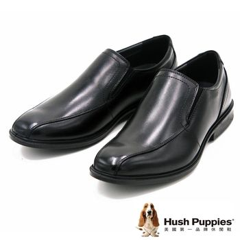 Hush Puppies 尖頭素面紳士正裝皮鞋 男款-黑