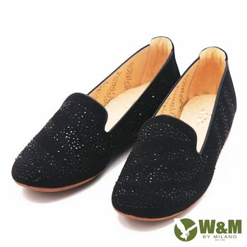 W&M 復古水鑽典雅直套樂福鞋 女鞋-黑(另有藍)