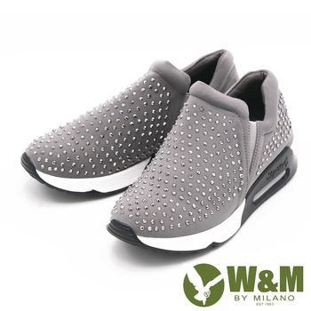 W&M 內增高素色水鑽運動鞋 女鞋-灰(另有黑)
