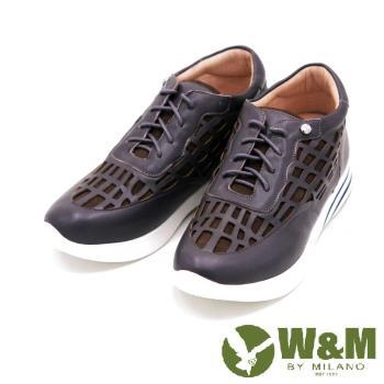 W&M 真皮鏤空透氣休閒運動鞋 女鞋-灰(另有黑)
