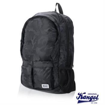 【KANGOL】高容量休閒防潑水機能尼龍後背包(迷彩灰 KG1115-B)
