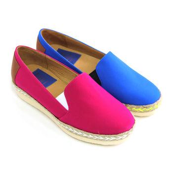 【GREEN PHOENIX】BIS-VITAL雙彩編織麻繩進口萊卡厚底福樂鞋-桃紅色、藍色