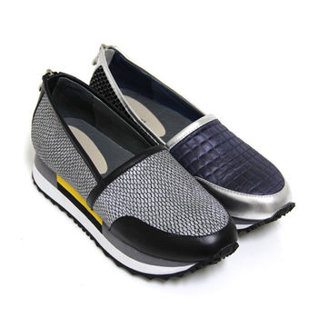 【GREEN PHOENIX】BIS-VITAL金屬撞色異材質拼接拉鍊義大利牛皮厚底休閒鞋-銀色、黑色