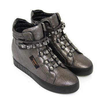 【GREEN PHOENIX】BIS-VITAL 壓克力水鑽金屬邊義大利爆裂皮高筒內增高休閒鞋-古銅色