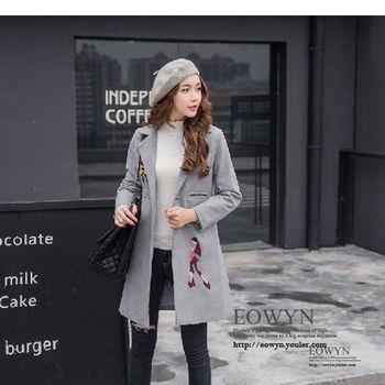 實拍秋冬中長款繭型毛呢外套女冬修身顯瘦刺繡羊毛呢子大衣加厚灰色/黑色/S/M/L/XL/2XL