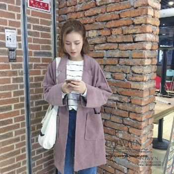 實拍!韓風一粒扣純色翻領毛呢外套蝙蝠袖寬松中長款呢大衣圖片色/均碼