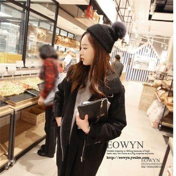 EOWYN - 韓版寬鬆羊羔毛中長款鹿皮絨外套 ( 米 / 黑 ) 2色選 S~XL