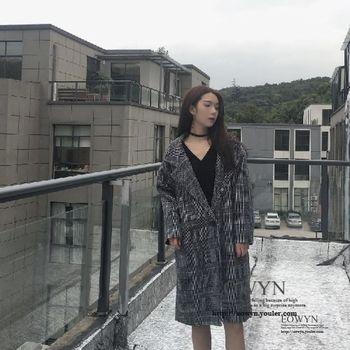實拍韓國原宿風千鳥格呢子風衣外套咖啡色/黑色/均碼