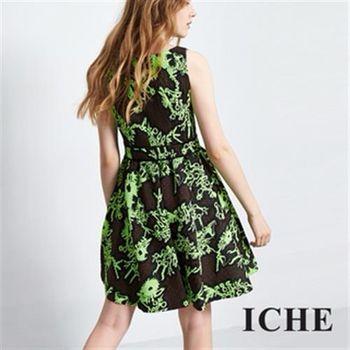 【ICHE 衣哲】立體精緻提花傘襬洋裝