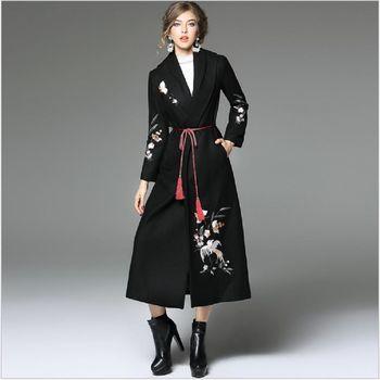 (現貨+預購 RN-girls)-歐美秋冬時尚精緻優雅重工繡花毛呢大衣外套