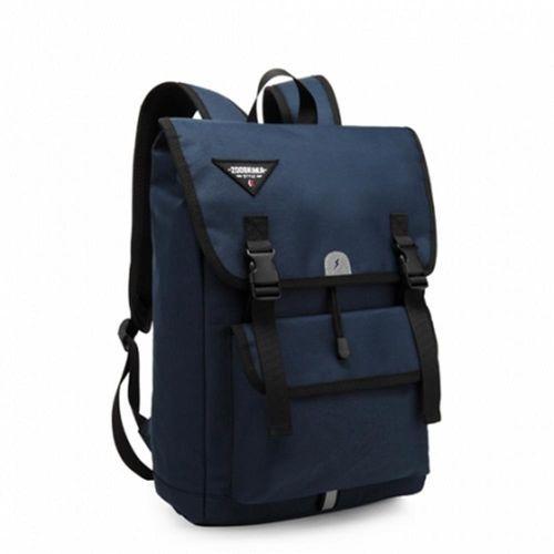 【電腦後背包】休閒後背包 束口式便利收納開口(深藍67-03)