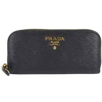 PRADA 1PG604 經典浮雕LOGO水波紋皮革六孔鑰匙包.黑