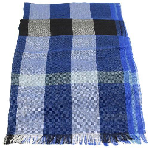 BURBERRY 3928350 英系經典格紋絲質羊毛披肩圍巾/絲巾.藍