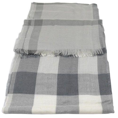 BURBERRY 3906313 英系經典格紋絲質羊毛披肩圍巾/絲巾.灰