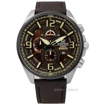 EDIFICE CASIO / EFR-555BL-5A / 卡西歐奔馳酷勁快感三環真皮手錶 棕色 50mm