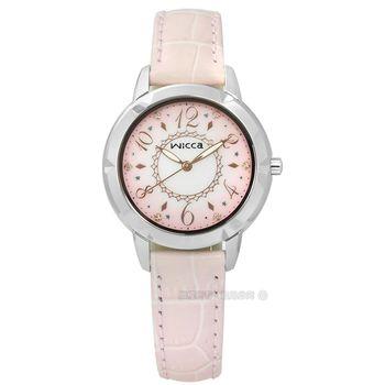 CITIZEN 星辰表 WICCA / BT2-718-90 / 廣告款 花漾柔美晶鑽漸層皮革手錶 粉色 32mm