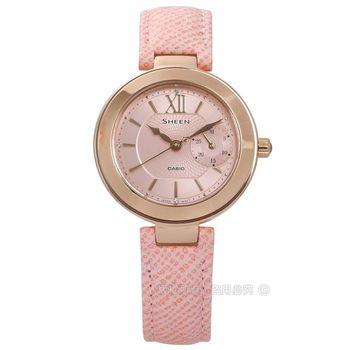 SHEEN CASIO / SHE-3051PGL-4A / 卡西歐冬季戀歌施華洛世奇日期真皮手錶 粉x玫瑰金框 32mm