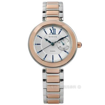 SHEEN CASIO / SHE-3050SG-7A / 卡西歐冬季戀歌施華洛世奇日期不鏽鋼手錶 銀x鍍玫瑰金 32mm