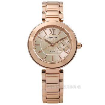 SHEEN CASIO / SHE-3050PG-7A / 卡西歐冬季戀歌施華洛世奇日期不鏽鋼手錶 鍍玫瑰金 32mm