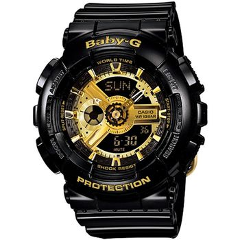 Baby-G 低調奢華女錶-黑x金_BA-110-1A