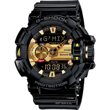 G-SHOCK GMIX GBA-400音樂控制系列錶款-黑X金_GBA-400-1A9