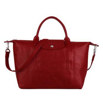 Longchamp Pliage Cuir小羊皮系列手提肩背包(中/紅)