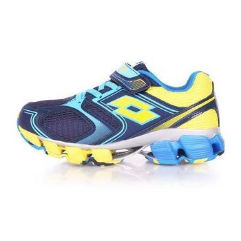 【LOTTO】男女大童避震跑鞋 -路跑 慢跑 夜跑 丈青藍黃