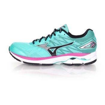 【MIZUNO】WAVE RIDER 20 女慢跑鞋- 美津濃  路跑 湖水綠黑