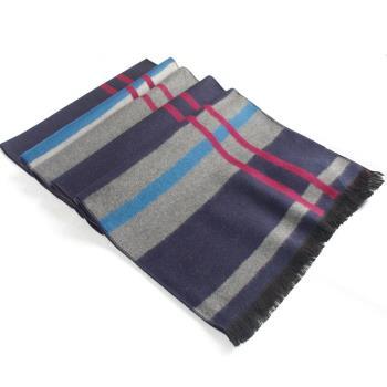 經典時尚100%蠶絲保暖圍巾(紅條藍灰紋)
